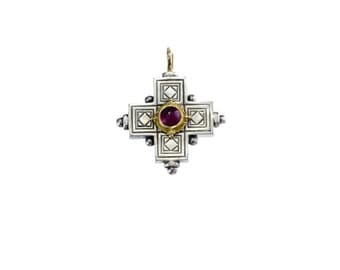 classical Gerochristo cross pendant  in 18k solid yellow gold sterling silver and garnet, antique style