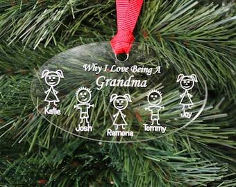 SHIPS FAST, Grandparent Christmas Ornament, Grandma Gift, Grandparent Gift, Grandpa Gift,  Personalized Grandma Ornament, Christmas ORN03
