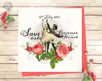 Dancing Couple Save The Date Printable Announcement | Personalized Photo Card, Custom Faces | Vintage Quirky Floral Unique Funny | Pdf file