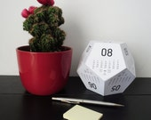 3D multipurpose dodecahedron rpg desk calendar - paper calendar - nerd geek gift - geek calendar - geometric calendar - 2017 calendar