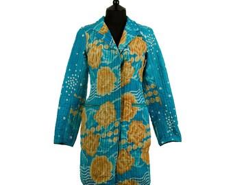 KANTHA JACKET - Medium - Classic style - Size 10/12 - Sky blue and beige.