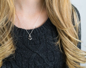 Silver anchor necklace | Minimalist pendant necklace, Beach jewelry, Simple charm necklace