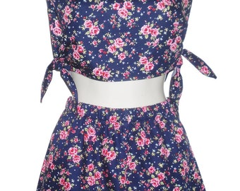 Retro 2 Piece Jumpsuit Shorts & Crop Top Small Pink Navy Floral Vintage 80's Pattern