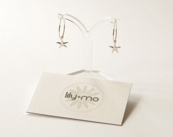 Silver star hoop earrings, star earrings, hoop earrings, constellation jewelry, starfish earrings, starfish jewelry, beach wedding earrings,