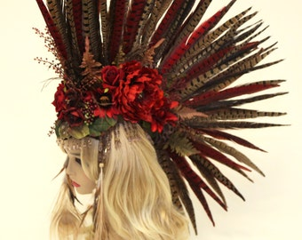 Headdress/ MADE TO ORDER /Feather Mohawk/ Warrior Headdress/ Burning Man Headdress/ Flower Headdress/ Tribal Headdress/ Feather Headdress