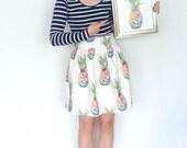 Pineapple print skirt, tropical print high waist skirt, pleated winter skirt, painted skirt, fruity skirt, unique skirt, gifts for her