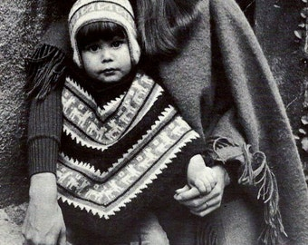 Child's Peruvian Poncho and Earflap Hat Vintage Knitting Pattern Download