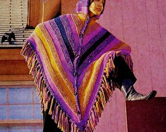 Easy Hooded Poncho with Cap Vintage Knitting Pattern Download