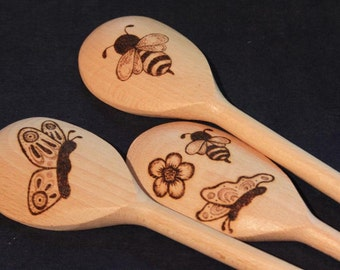 Bees, butterflies & flowers wooden spoon set