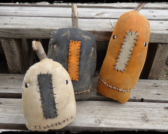 Three Jacks Halloween Pumpkins, Primitive Folk Art, Grungy Jack o Lantern, Autumn Fall Decor, OFG FAAP