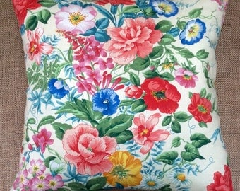 Vintage Floral Fabric Cushion 40cm x 40cm With Interior
