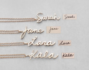 Actual Handwriting Necklace - Personalized Signature Charms - Bridesmaid Jewelry - Silver, Gold, Rose Gold Wedding Gifts - #PN01