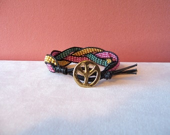 Metallic Blue Green Pink and Gold Peace Sign Beaded Braided Leather Wrap Cuff Bracelet