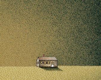 Landscape Illustration Print Illustration Art Print Prints Illustrations Pen & Ink Drawing Print Green Mixed Media Giclee Print