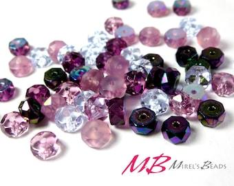 120 pcs Rondelle Bead Mix, Purple Czech Glass Bead Mix, 3x6mm