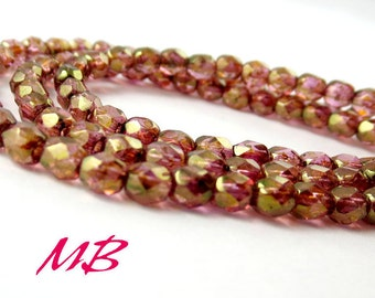 4mm 50 pcs Luster Rose Gold Fire Polished Beads, Faceted Czech Glass 4mm