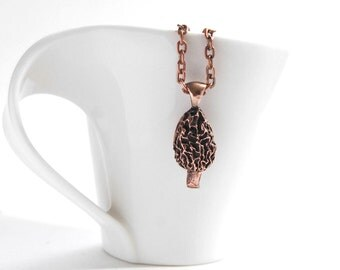 Cute Morel mushroom pendant necklace *nature-inspired jewelry*
