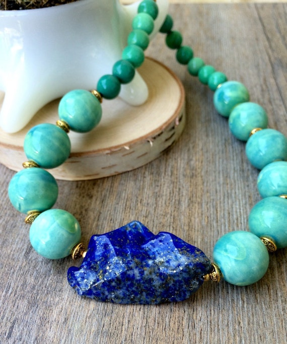 Beaded statement choker, ceramic necklace, Opal and Lapis beads, SeaFoam Green turquoise beaded choker with Lapis, chunky statement necklace