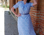 Handmade Vintage 1940s-Style Periwinkle Swing Dress / WWII Reenactment / Retro / Vintage-Style / Size L