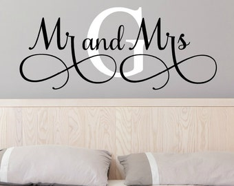 Mr And Mrs Wall Decals - Mr and Mrs Stickers - Newlywed Wall Decals - Monogram Wall Decal - Monogrammed Wall Decal - Wedding Gift