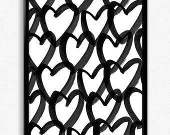 Heart Art Print, Downloadable Art Print, Downloadable print, Digital Art, Watercolour, Hearts, Heart Shape, Instant download
