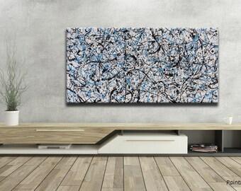 "Large Wall Art, Original abstract drip painting, 48""x24"", Blue, ""Action 57"" by Jan Rasiewicz - Rasko"