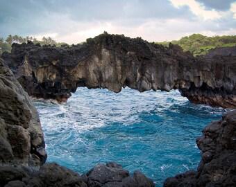Black Sand Beach Arch-color photogtaphy, beach, ocean, Hawaii, Hana, lava formations