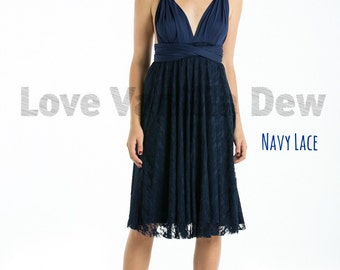 Bridesmaid Dress Infinity Dress Navy Lace Knee Length Wrap Convertible Dress Wedding Dress
