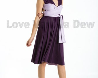 Bridesmaid Dress Infinity Dress Royal Purple with Lilac Reversible Wrap Convertible Dress Wedding Dress