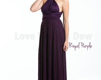 Bridesmaid Dress Infinity Dress Royal Purple Lace Floor Length Maxi Wrap Convertible Dress Wedding Dress