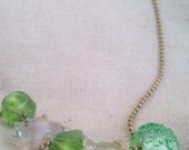 Green bead necklace, clear bead necklace, pastel textured assorted round faceted and handmade beads on 70cm brass ball-chain necklace