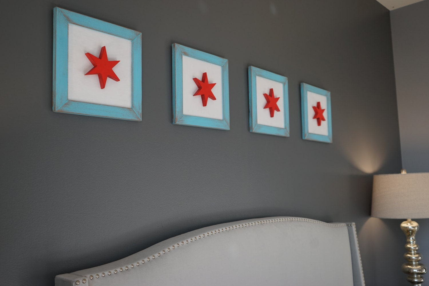Rustic Wooden Chicago Flag Box Frames set of 4 12x12