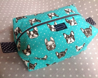 Mint green French bulldog zippered boxy pouch mint cosmetic bag knitting project bag gift for knitter fabric wash bag dog zipper bag