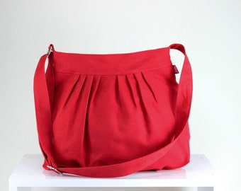 Red Bag Fully Lined Purse Bag Pleated Bag Washable Shoulder Crossbody Use Gift Idea Daily Use Bag Canvas Bag Vegan Different Color Avaiable