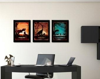 Jurassic poster set, Jurassic world, Jurassic Park, Movie Art, Triptych art set, Dinosaur, Home & living, Poster set, Trio poster, Gift