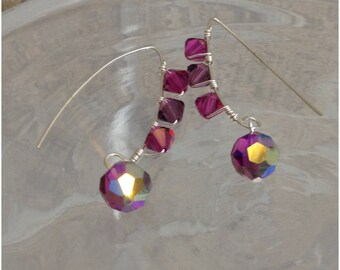 Wire wrapped plum purple and magenta crystal earrings