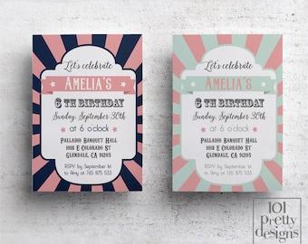 Printable circus Birthday Invitation design carnival party invitation printable kid's birthday invitation template vintage party invite