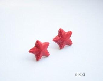 Red Star Stud Earrings, Communist Star Earrings, Red Star Clay Earrings, Partisan Star Jewelry, Red Star Studs, Communist Studs, Communism