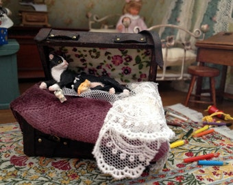 CAT and miniature kittens in suitcase Dollhouse scale 1:12