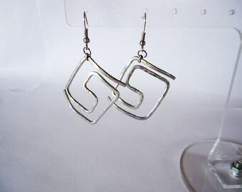 Greek Large Earrings, Meander Earrings, aluminum Hanging Earrings, Metal Earrings, Metal Jewelry,Modern,Boho ,Jewelry