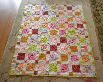 homemade finished Youth Quilt -Seven Year Quilt- 50x64
