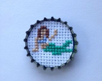 mermaid bottle cap pin