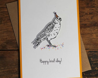 Happy Bird-day, Birthday, Animal, Bird in Party Hat, Punny, Illustrated 3d Greeting Card