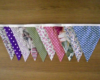 Spring Colours Floral and Polka Dot Lined 10 Flagged Fabric Bunting