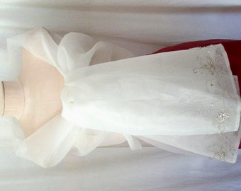 Vintage 70s 80s WEDDING GLAM Prom WRAP Cape Shawl Stole with Edge Embroidery & Beading