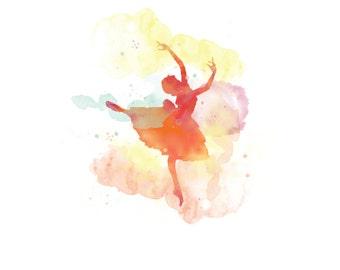 Ballerina Print, Watercolor Wall Art