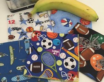 Sports Napkins, Childrens' Cloth Napkins, Kids Cloth Napkins