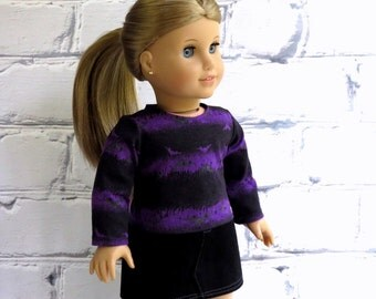 Halloween Doll Tee, 18 inch Doll Clothes Purple Black Shirt, American Made, Girl Doll Clothes