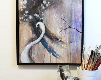 The Muted Swan - original painting on canvas in lilac and soft shades of purple