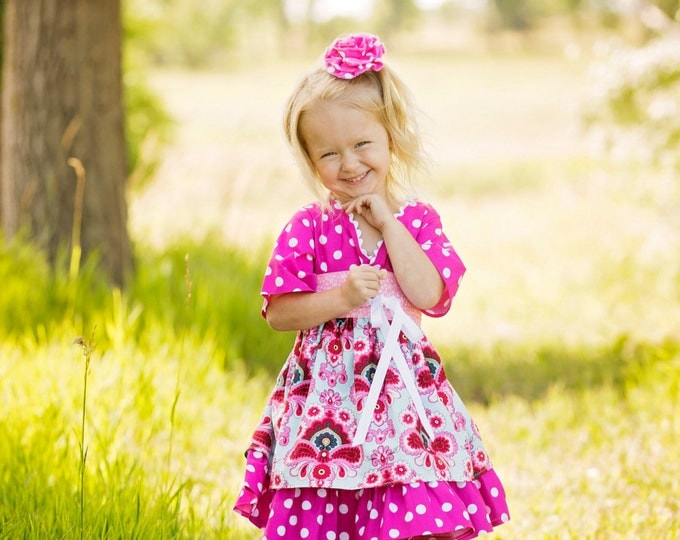 Pink Ruffle Dress - Little Girl Clothes - Toddler - Teen - Baby - Kimono - Birthday - Mothers Day - Spring - Sizes 12 mo to 14 years